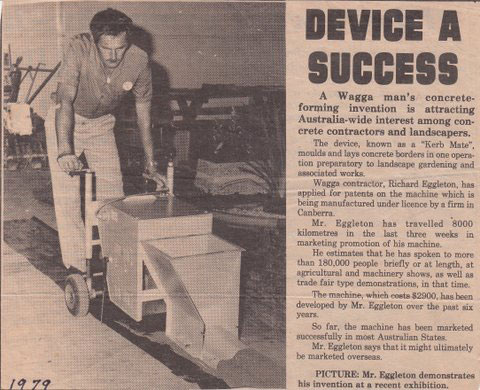 Wagga Daily Advertiser News Clipping 1979 - Concrete Edging Device A Success